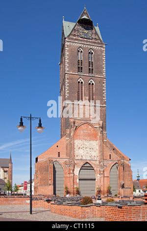 tower of Marien Church, Wismar, Mecklenburg-West Pomerania, Germany - Stock Photo