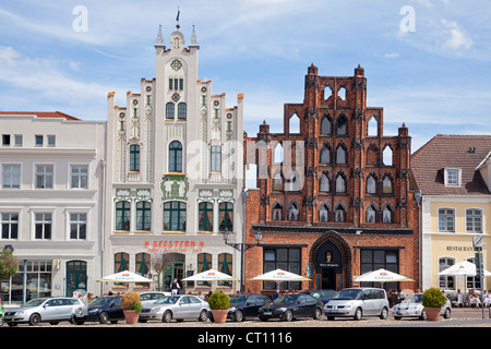 restaurants Seestern and Alter Schwede, market square, Wismar, Mecklenburg-West Pomerania, Germany - Stock Photo