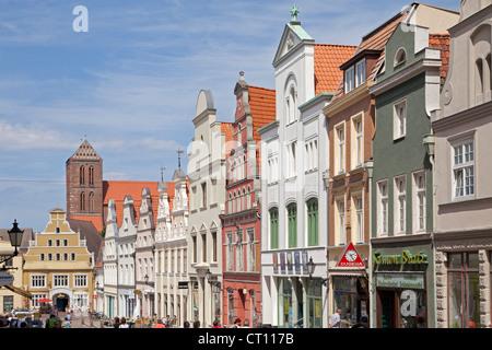 Kraemerstrasse, Wismar, Mecklenburg-West Pomerania, Germany - Stock Photo