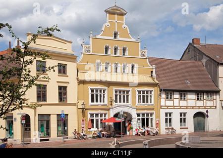 Loewen-Apotheke, Kraemerstrasse, Wismar, Mecklenburg-West Pomerania, Germany - Stock Photo