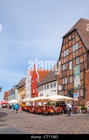 restaurants, Am Lohberg, Wismar, Mecklenburg-West Pomerania, Germany - Stock Photo