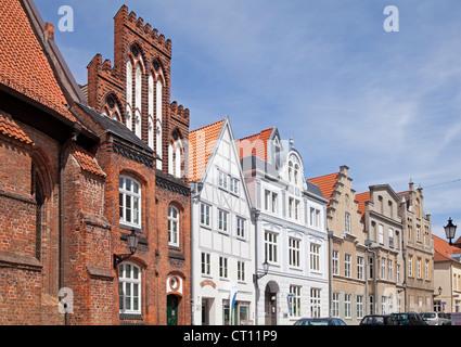 gabled houses, Luebsche Strasse, Wismar, Mecklenburg-West Pomerania, Germany - Stock Photo