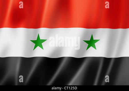 Syria flag, three dimensional render, satin texture - Stock Photo