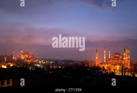 Aerial view of Istanbul lit up at night - Stock Photo