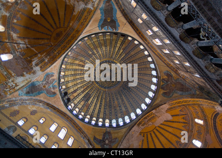 Ornate domed ceiling and windows - Stock Photo