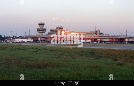 Berlin, the Berlin-Tegel airport Otto Lilienthal in the evening light - Stock Photo