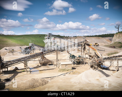 Aerial view of conveyor in quarry - Stock Photo