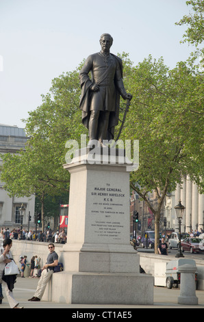 Statue of Major General Sir Henry Havelock in Trafalgar Square - Stock Photo