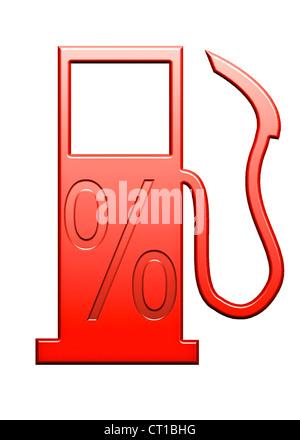 percentage sign on a symbolic gas pump - Stock Photo