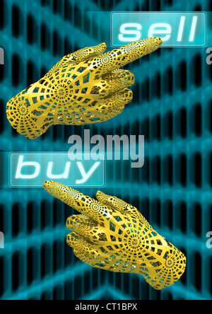 virtual hands trade stocks online - virtuelle Hand bedient Touchscreen mit Kauf- und Verkaufsbefehlen - Stock Photo