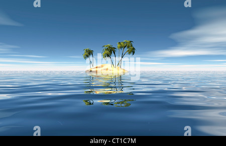 Robinson island with palms and sea - Stock Photo