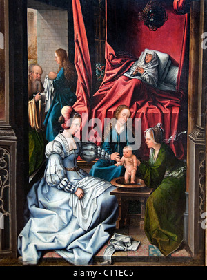 Birth and Naming of Saint John the Baptist Trompe l'oeil with Painting of The Man of Sorrow Dutch Belgian Belgium - Stock Photo