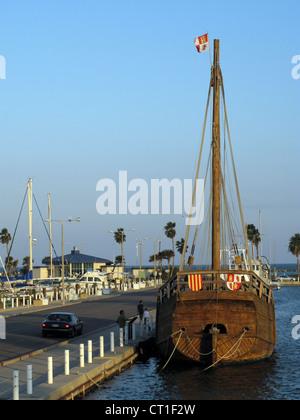replica of the Nina (Christopher Columbus ship) in Corpus Christi, Texas marina - Stock Photo