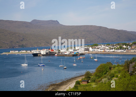 Ullapool Ross and Cromarty Scotland May View down to this small fishing and ferry port on Loch Broom from viewpoint - Stock Photo