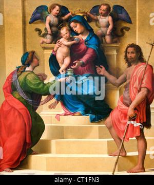 Madonna and Child Enthroned with Saints Mary Magdalen and John the Baptist 1510 Giuliano di Piero di Simone Bugiar Italy Italian