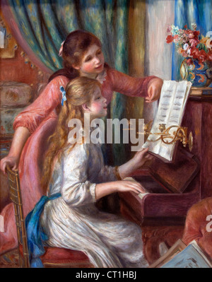 Two Young Girls at the piano 1892 Pierre Auguste Renoir 1841-1919 French Impressionist France - Stock Photo