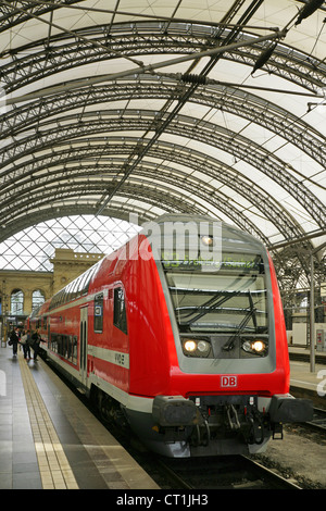 Double decker S-bahn train in the renovated Dresden Hauptbahnhof station, Saxony, Germany. - Stock Photo