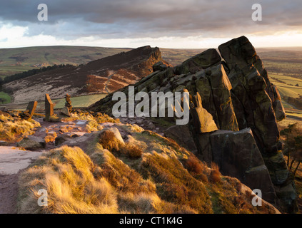 The Roaches and Hen Cloud, grit stone ridge, Staffordshire, England, UK - Stock Photo