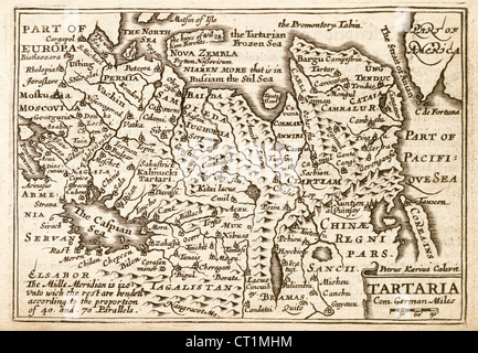 Map of The Tartaria (Tartary) by Petrus Kaerius 1646 from John Speed Prospect of the most Famous Parts of the World - Stock Photo
