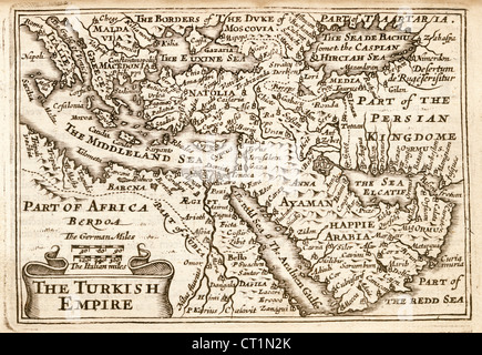 Map of The Turkish Empire by Petrus Kaerius 1646 from John Speed Prospect of the most Famous Parts of the World - Stock Photo