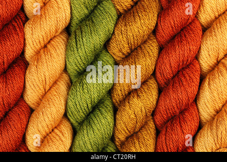 wool yarn twisted skeins for knitting - Stock Photo