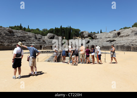 Tourists at the Ruins of Roman City Italica. Seville Province, Andalusia Spain - Stock Photo