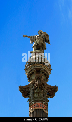 Christopher Colombus monument at Barcelona, Catalonia, Spain - Stock Photo