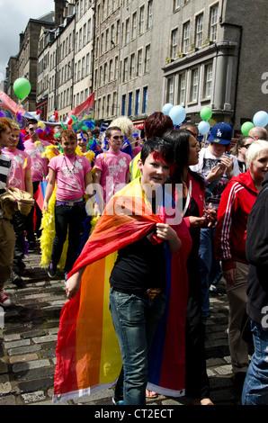 Pride Scotia 2012 parade in the Royal Mile, Edinburgh, Scotland. - Stock Photo