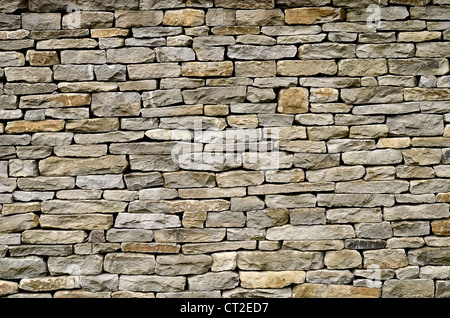 Garden dry-stone walling / detail of sandstone sections - Cotswolds. Visual allegory for 'firewall' or file 'access - Stock Photo