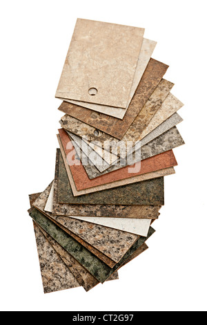 Assorted kitchen counter samples fanned out isolated on white background - Stock Photo