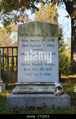 Grave of Oliver Wendell Holmes (August 29, 1809 – October 7, 1894) and his wife at Mount Auburn Cemetery in Cambridge, - Stock Photo