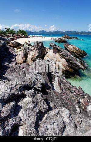 Rocks on the tropical sandy beach of Khai Nai Island, Phuket, Thailand - Stock Photo