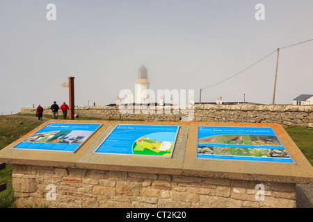 Visitor information boards by Dunnet Head lighthouse at most northerly point of mainland Britain. Dunnet Caithness - Stock Photo