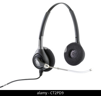 a pair of telephonists hands free headphones isolated on white with clipping path - Stock Photo