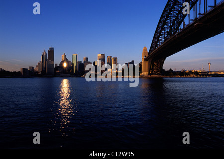 Early morning light reflects off a building in Sydney downtown - Stock Photo