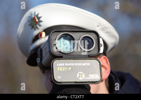 Police traffic, speed control. Laser control. - Stock Photo
