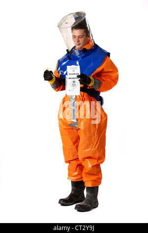 Fire man in a Disease suit. Protection against bacteria, biological hazards, highly contagious diseases. - Stock Photo