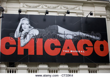 Poster Advertising the theater production of Chicago  Garrick theater in London's west end - Stock Photo