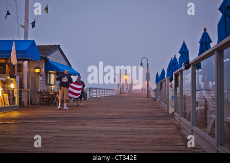 Pier At Dusk, San Clemente Beach, San Clemente, California, USA - Stock Photo
