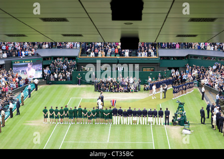 Men's Wimbledon Tennis Championship Final 2012.  Murray vs Federer  Trophy Presentation, Centre Court - Stock Photo