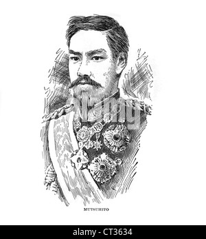 Vintage engraving of Mutsuhito, Emperor Meiji,1852-1912, emperor of Japan. - Stock Photo
