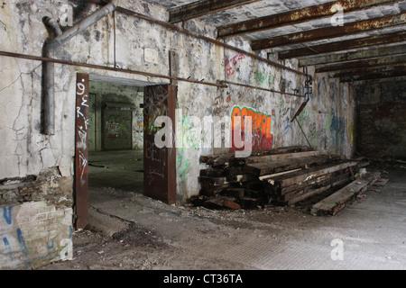 demolish abandon old factory warehouse industrial - Stock Photo