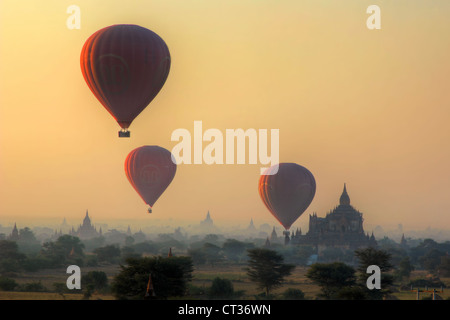 Balloons over Bagan (Pagan) | Myanmar (Burma) - Stock Photo