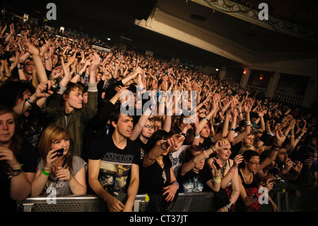 A concert crowd at Brixton Academy on 4th May 2012 watching lost prophets - Stock Photo