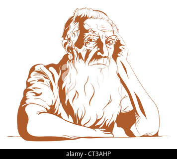 The sad old man leaning and looking at you. - Stock Photo