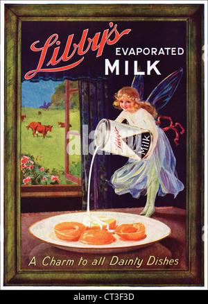Original 1920s vintage print advertisement from English consumer magazine advertising LIBBY'S EVAPORATED MILK - Stock Photo