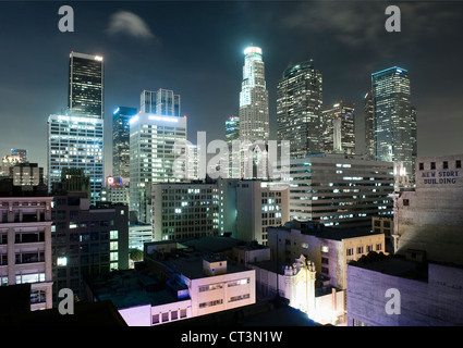 Los Angeles skyscrapers lit up at night - Stock Photo