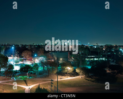 Aerial view of Los Angeles at night - Stock Photo