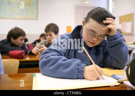 ADOLESCENT, DOWN'S SYNDROME - Stock Photo