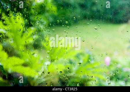 Out of focus garden seen through a rain covered window. - Stock Photo